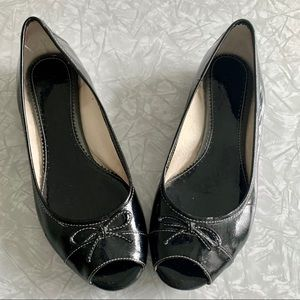 Clarks Artisan Peep-Toe Patent Leather Flats 7.5